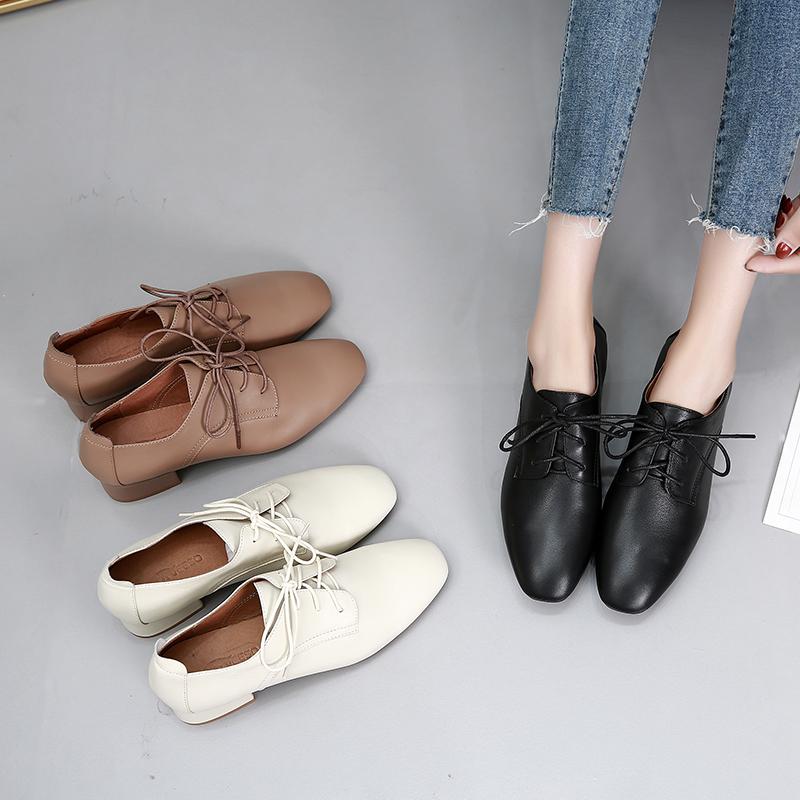 英伦风小皮鞋女2020冬季新款复古真皮系带平底方头女鞋中跟单鞋女图片