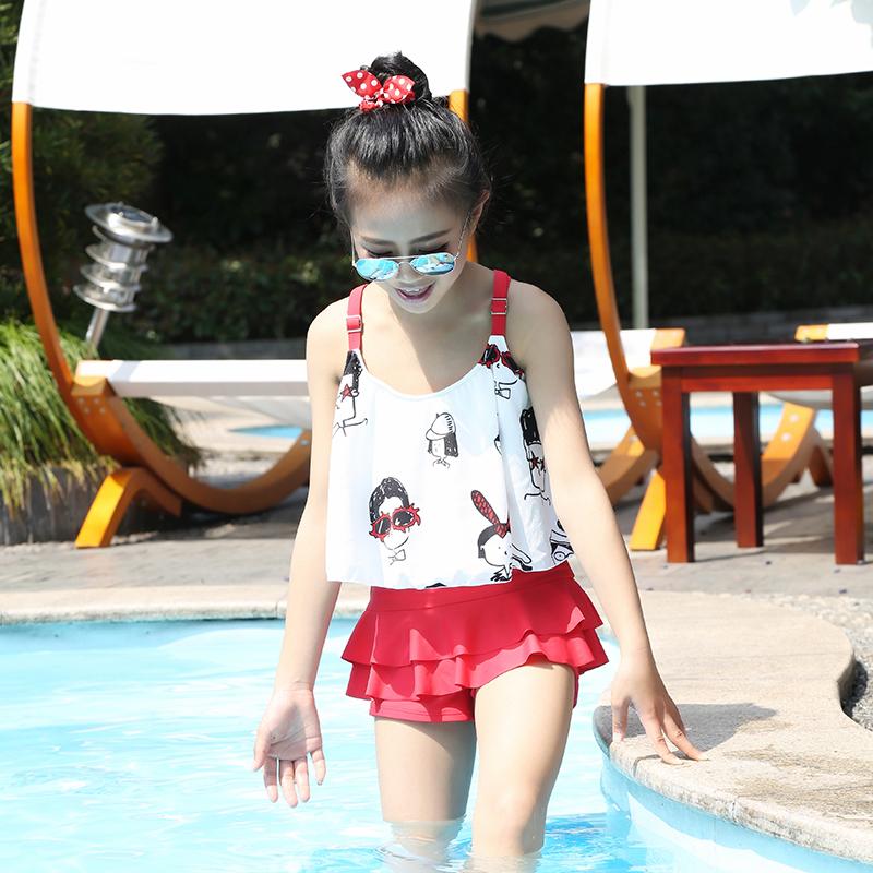 Ребятишки девочки летний костюм 2017 новый купальный костюм в больших детей корейская мода версия может быть любовь ребенок трещина купальный костюм плавки волна