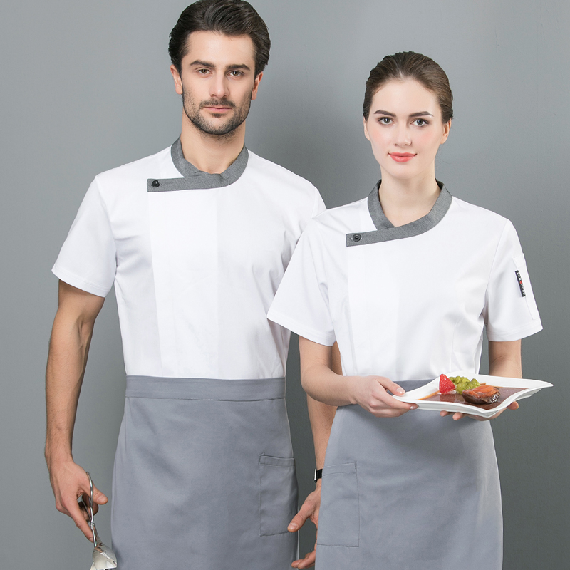 Chefs clothes, cake makers work clothes, Chinese catering Bakers uniform, flower mounting masters work clothes, baking summer short sleeves