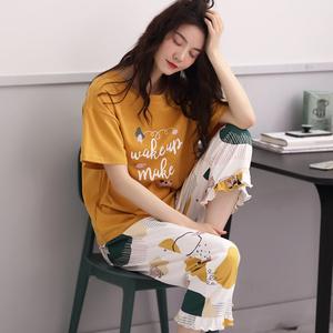 睡衣女夏纯棉薄款夏季短袖七分裤韩版可爱宽松夏天长裤家居服套装