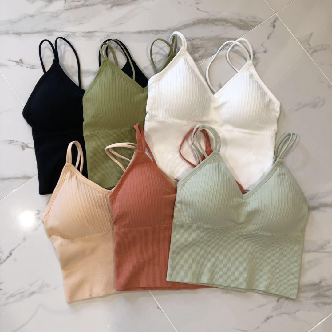 2020夏季新款V领针织吊带背心修身韩版单穿交叉美背裹胸直播爆款