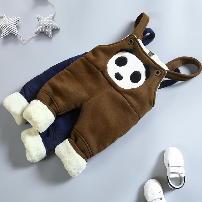 宝宝加棉背带裤男童冬装保暖加厚加绒婴儿裤子儿童棉裤0一1-3岁潮假一赔三