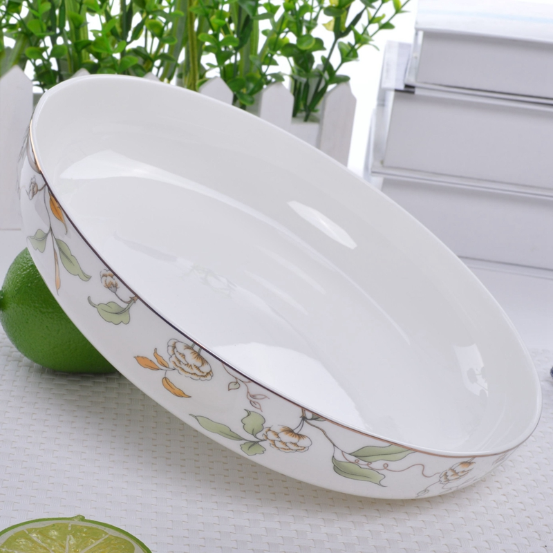 Wopan household ceramic plate bone china soup plate deep straight mouth rice plate golden edge tableware salad plate creative dish dish plate