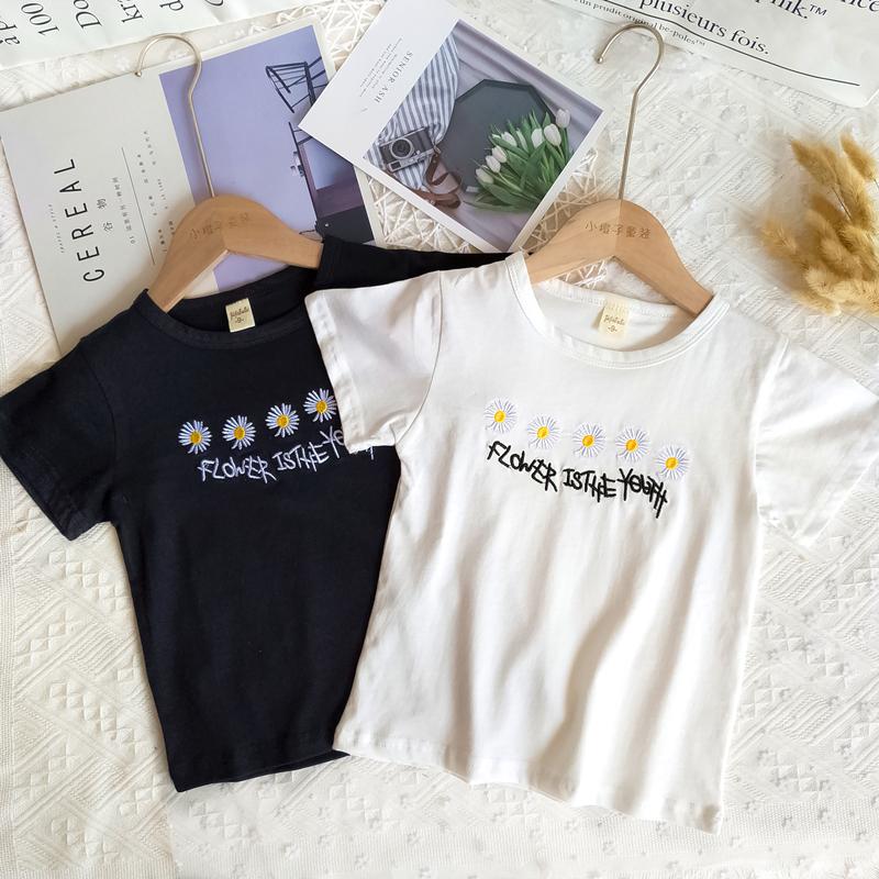夏女童休闲小雏菊短袖t恤洋气亲子装爆款GD同款儿童刺绣字母上衣