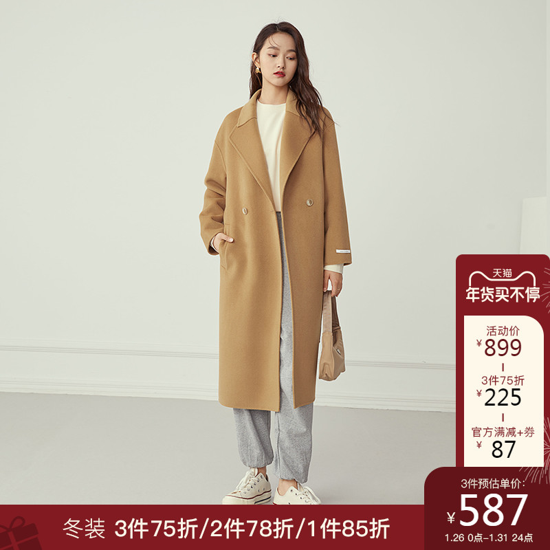 Van Slanen profile suit collar double-sided woolen coat women's mid-length autumn and winter temperament 100 pure woolen coat