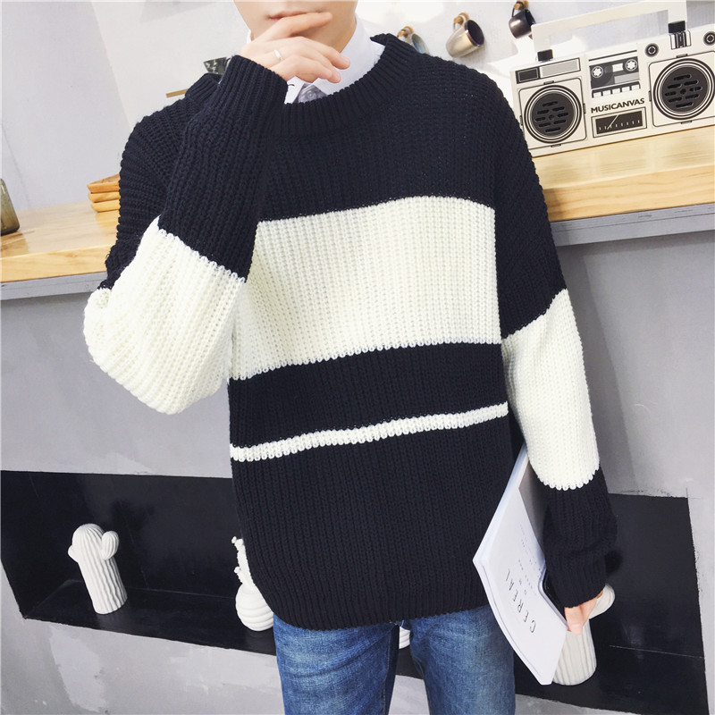 Autumn and winter mens sweater Korean BF style loose couple color matching bat sleeve sweater fashion sweater coat ins