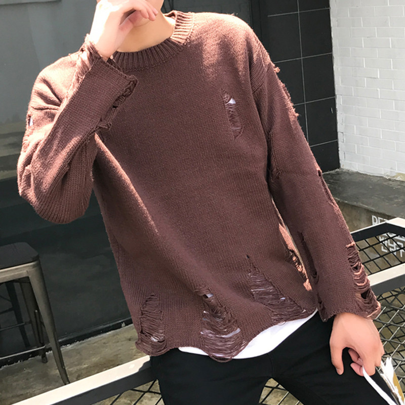 Ins super fire sweater mens autumn and winter lovers trend beggars hole top Korean version Les fashionable and handsome t hollowed out sweater