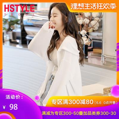 韩都衣舍2019韩版空调衫外搭开衫薄款宽松短款很仙的外套森女学生