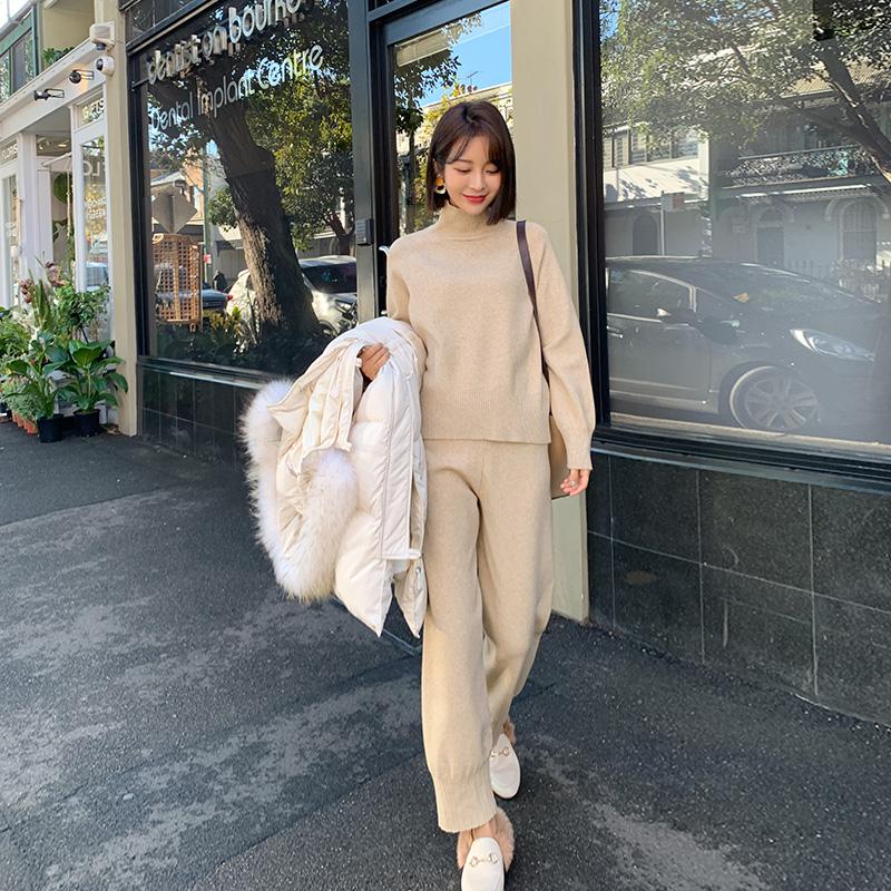韩都衣舍2019新款女装毛线奶奶裤毛衣两件套气质时尚针织套装女