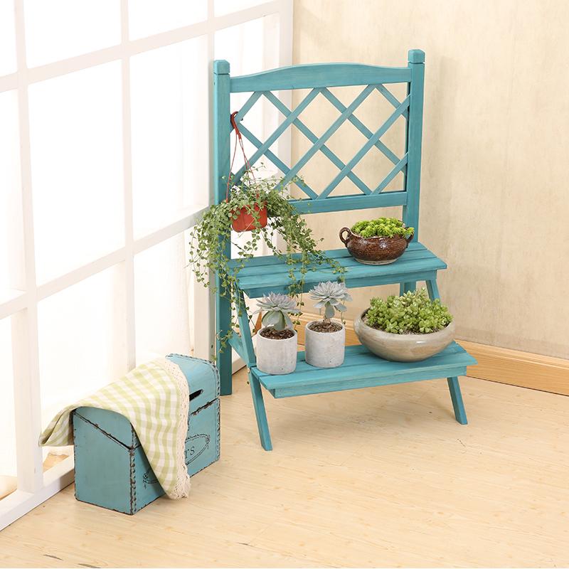 简易客厅多肉小花架简约双层实木质阶梯花架阳台窗台两层创意复古