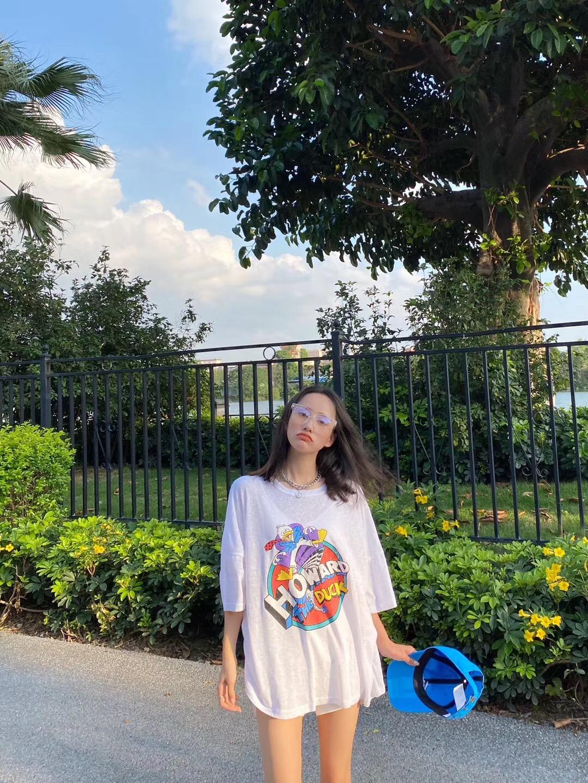 20新韩版薄款透气亚麻短袖T恤潮热门卡通小鸭子图案宽松显瘦上衣