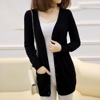 秋冬女式开衫中长款针织衫外套薄款羊绒衫大码羊毛衫长袖外搭毛衣