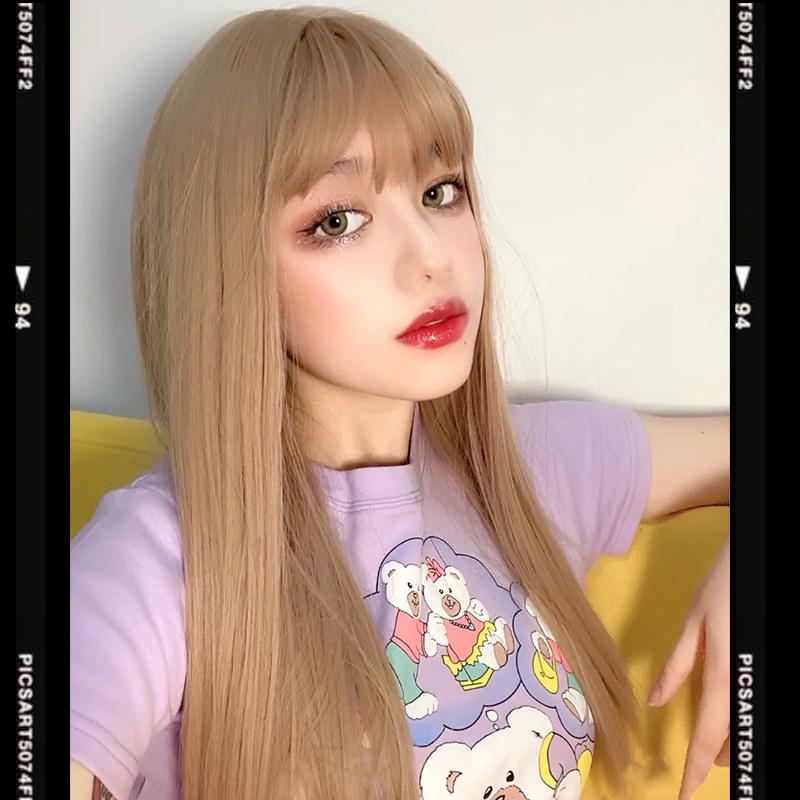 网红金色假发女长发日常浅金色cos欧美黄色Lolita洛丽塔lisa发型图片