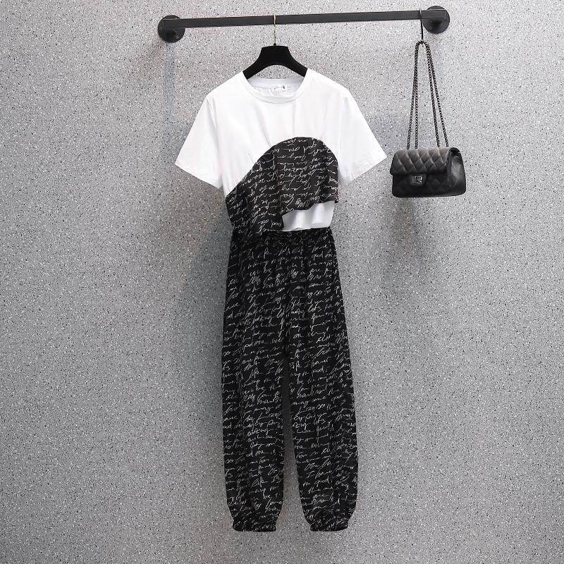 实拍 夏季新款纯棉拼接不规则上衣高腰显瘦长裤两件套装