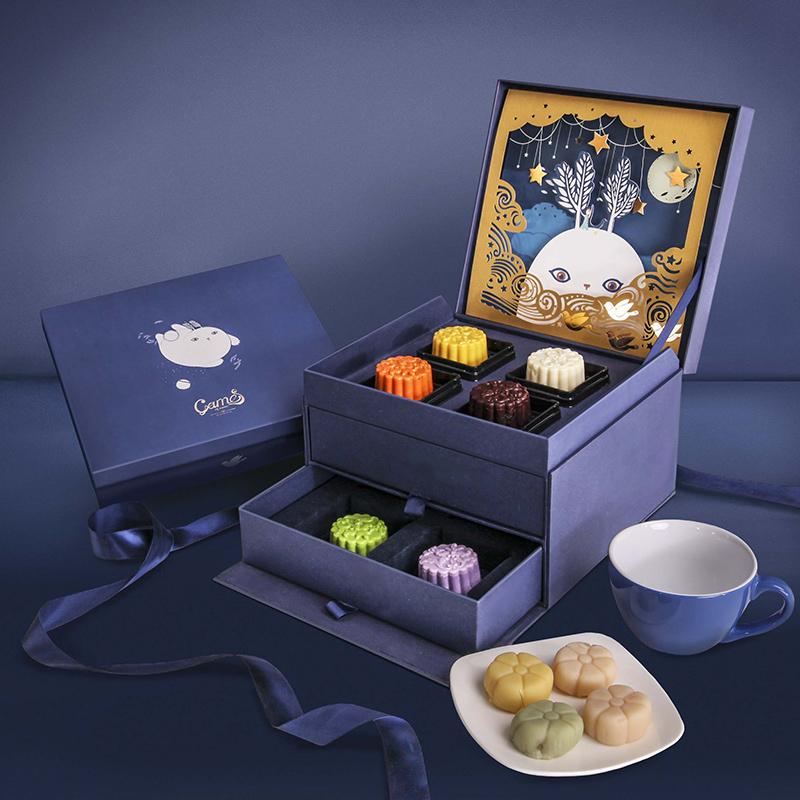 Оригинал творческий мультики трехмерный одноканальный двойной праздник середины осени фестиваль месяц пирог коробку подарок еда коробка фестиваль подарочные коробки