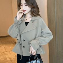 风衣女短款2019新款韩版宽松流行小个子抽绳喇叭袖时尚气质外套秋