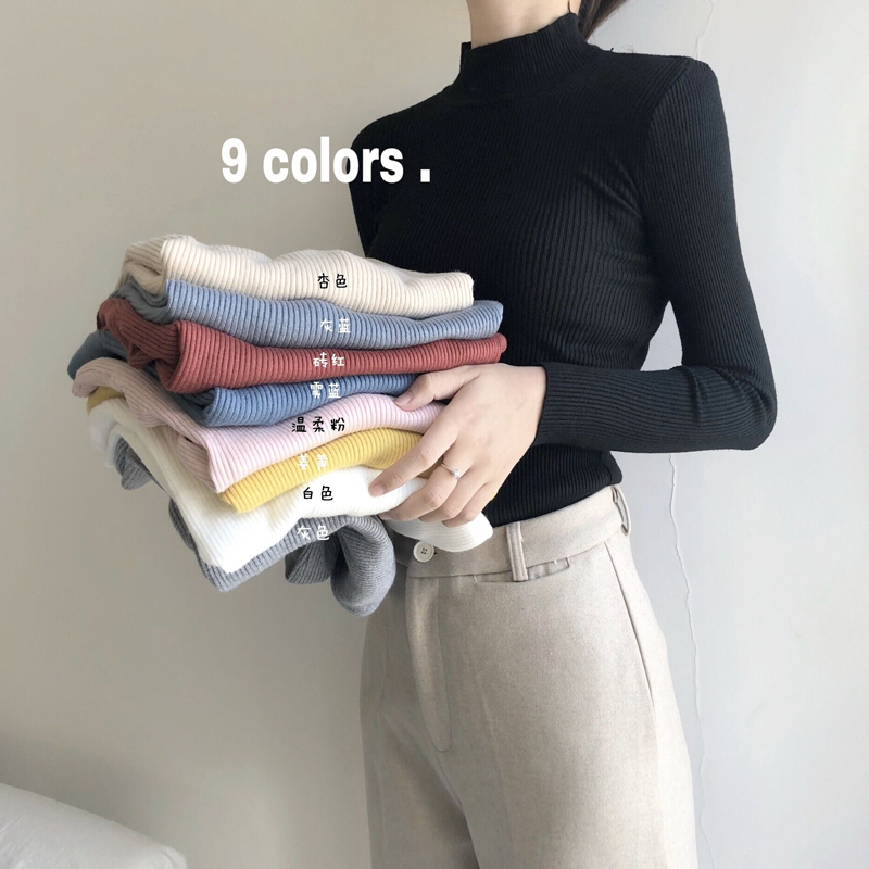秋冬2018新款女装学生纯色百搭套头针织衫半高领长袖打底衫上衣潮