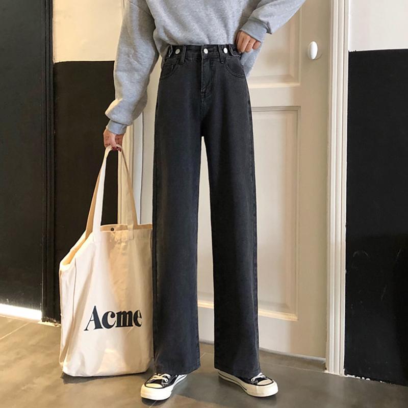 黑色牛仔裤女ins宽松直筒裤子秋季高腰显瘦垂感阔腿长裤老爹裤潮