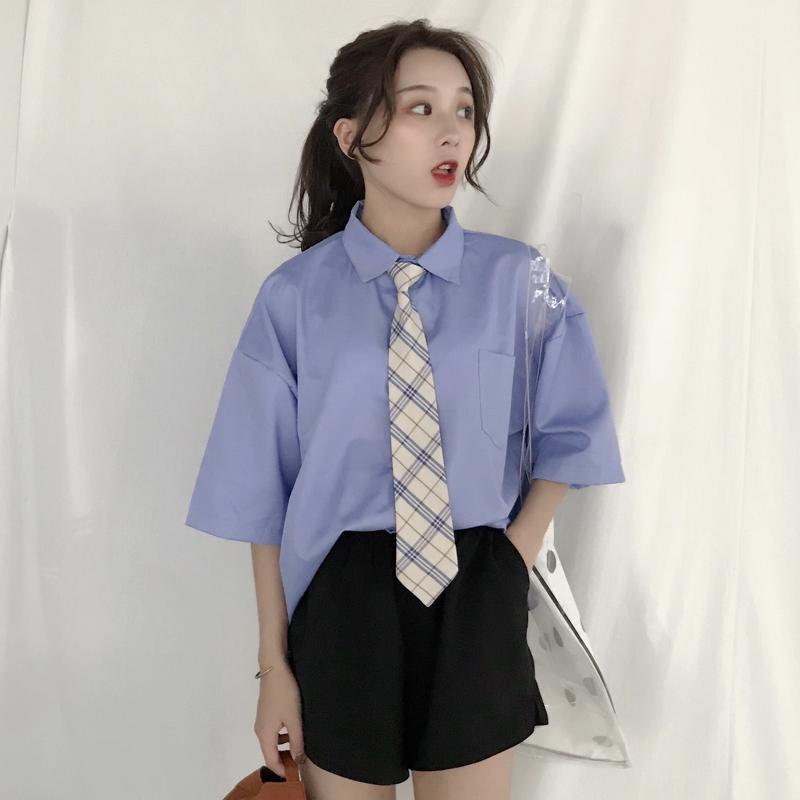 三木子2018韩版方领学院风蓝色短袖宽松衬衫上衣学生夏装女送领带
