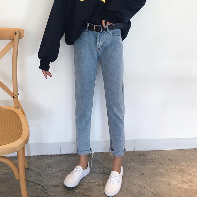 2018春装女装韩版宽松百搭直筒裤高腰毛边牛仔裤九分裤学生长裤子