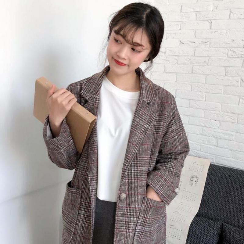 2018春装chic韩版女装学生复古格子翻领外套宽松显瘦长袖上衣新款
