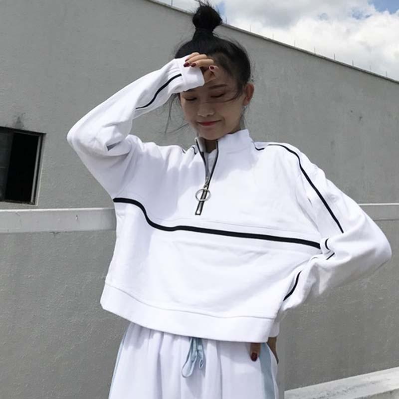 2018春装女装西裤韩版原宿气质百搭撞色短款拉链卫衣长袖上衣学生