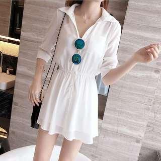 潮牌2019夏季新款女装版气质休闲雪纺连衣裙时尚修身显瘦小白裙