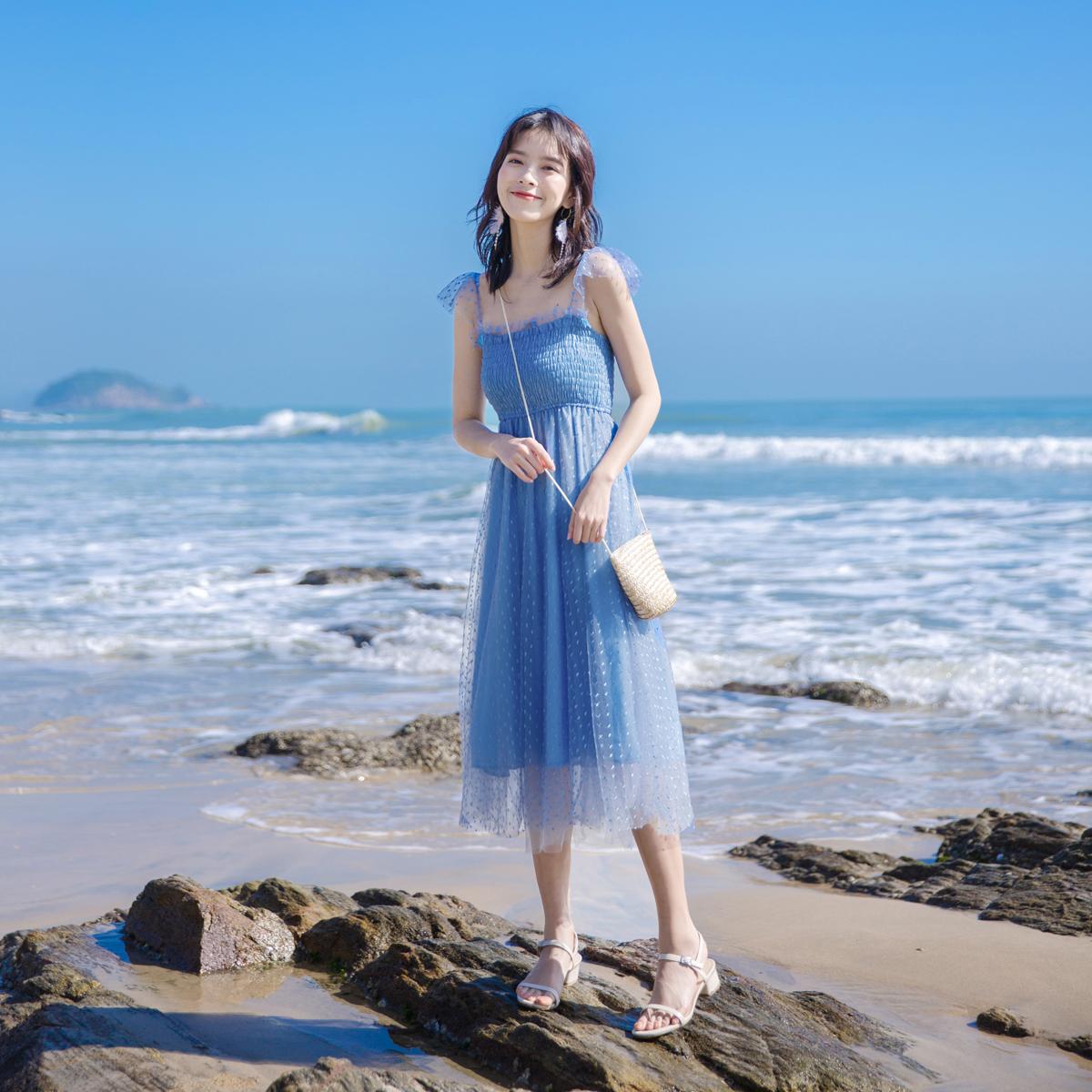 2021新款高腰名媛气质小清新夏裙子