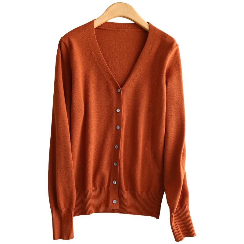 春秋新款羊毛开衫女短款长袖羊绒衫外套V领针织韩版大码纯色毛衣