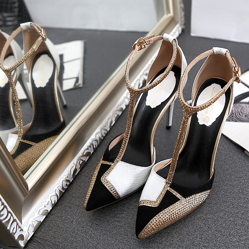 高跟凉鞋女夏2019新款t带镂空水钻性感细跟包头欧美少女尖头单鞋