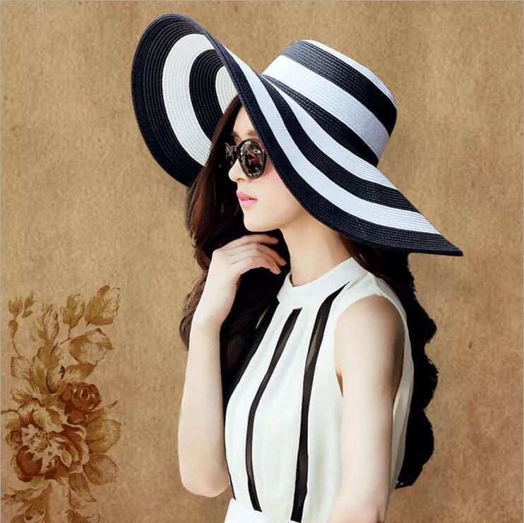 帽子女夏天出游防曬草帽超大沿黑白條紋海邊沙灘大帽檐海灘遮陽帽