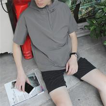 635#春夏男士连帽t恤短袖韩版宽松复古运动情侣五分袖带帽衫卫衣