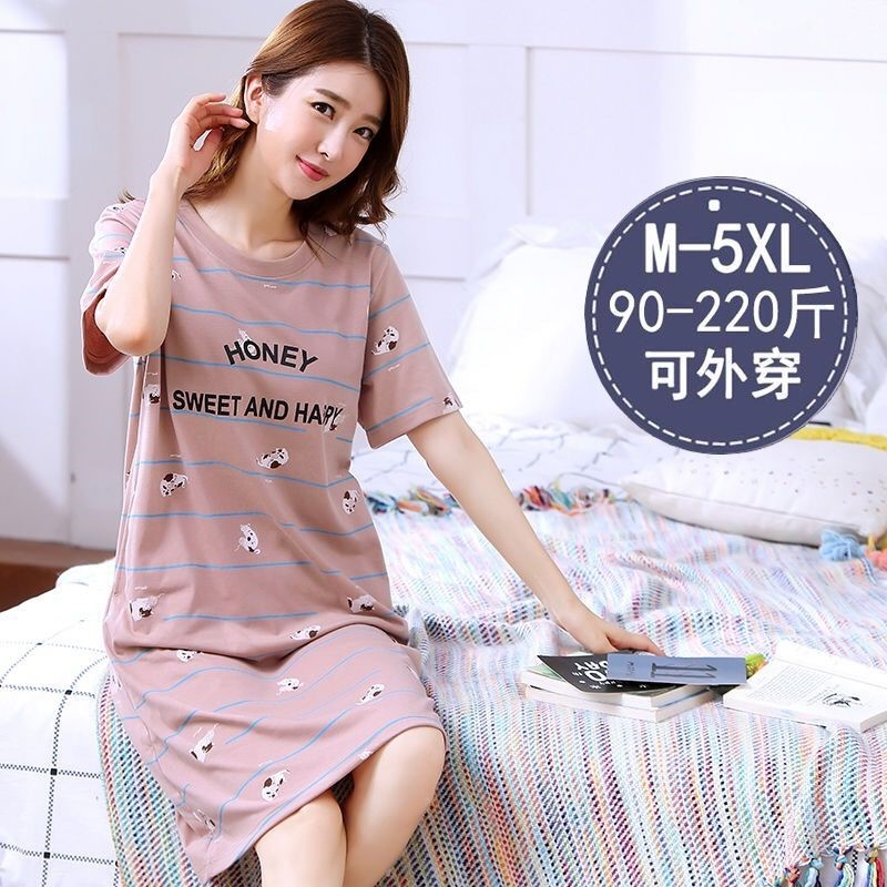 Pajamas female summer cotton nightdress female student cute cartoon Korean womens long dress for wearing out home clothes skirt