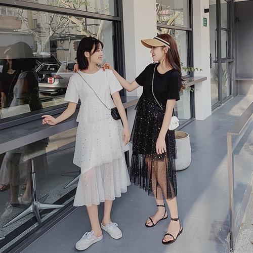 2020 summer new net red sweet mesh sequins stitching skirt small fresh foreign style dress womens skirt