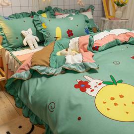 花小兔ins少女床裙四件套 绿色小清新花边被套 1.5m1.8米床单床罩图片