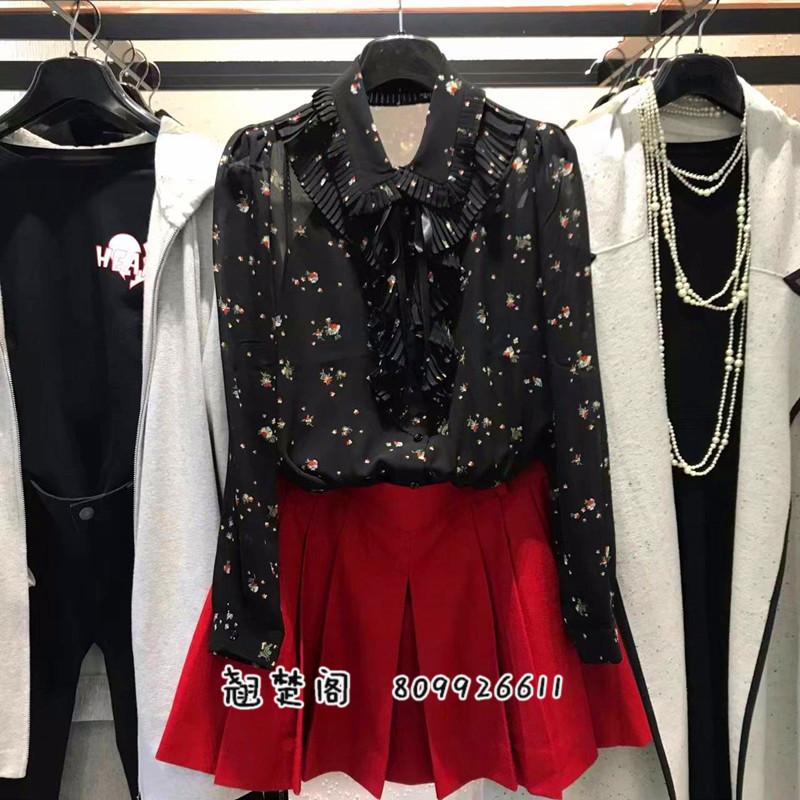 新颖哥弟特2018秋装新款国内正品代购女装雪纺碎花系带长袖衬衫女