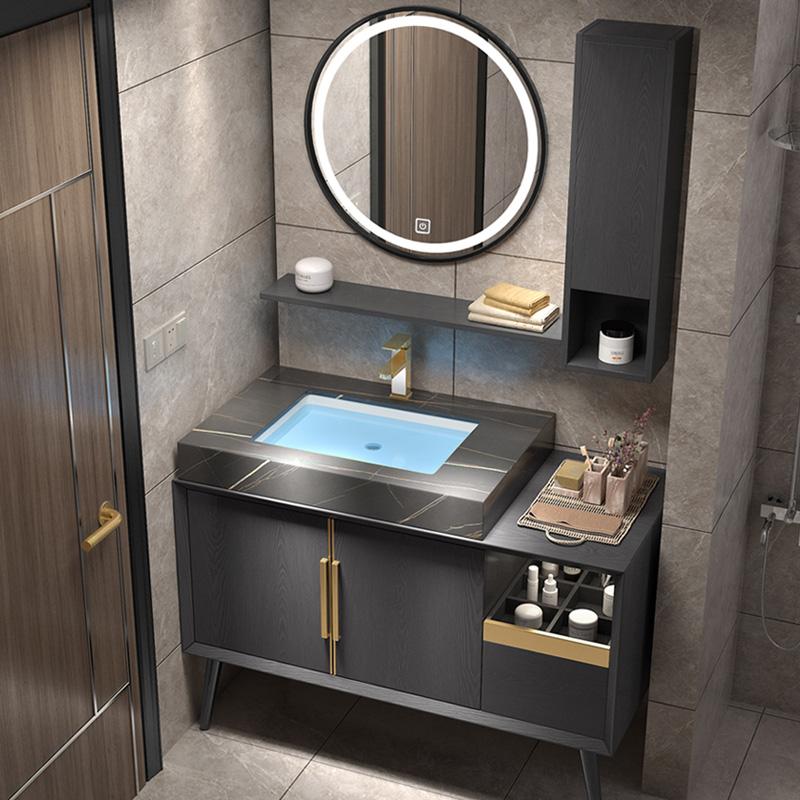 现代简约轻奢北欧智能浴室柜组合卫生间洗脸洗手盆洗漱台实木浴柜图片