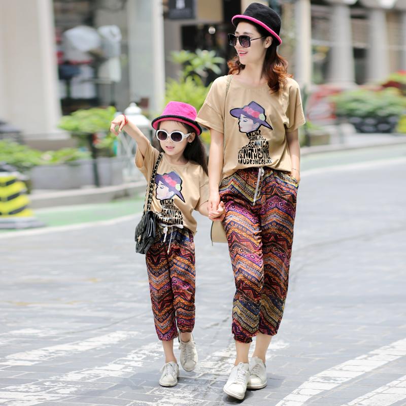 親子裝夏裝母女裝2016 大碼短袖寬鬆防蚊褲兩件套裝全家裝