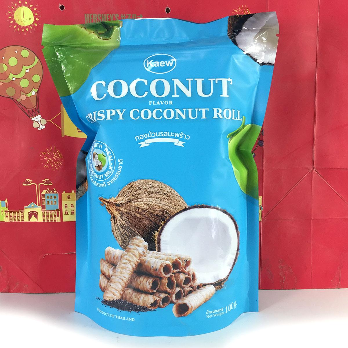泰国进口可儿脆椰奶卷(原味饼干)100克椰香酥卷办公室休闲零食