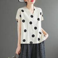 查看复古波点棉麻T恤女气质V领小衫2021夏季宽松大码短袖薄款亚麻上衣价格