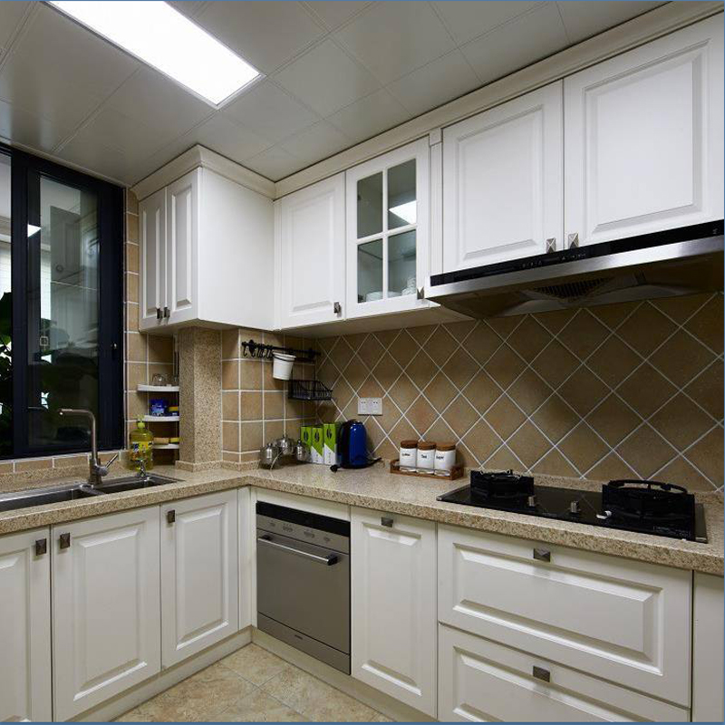 Simple and customized kitchen cabinet, whole molded kitchen cabinet, customized door panel, quartz stone assembly, modern, simple and economical