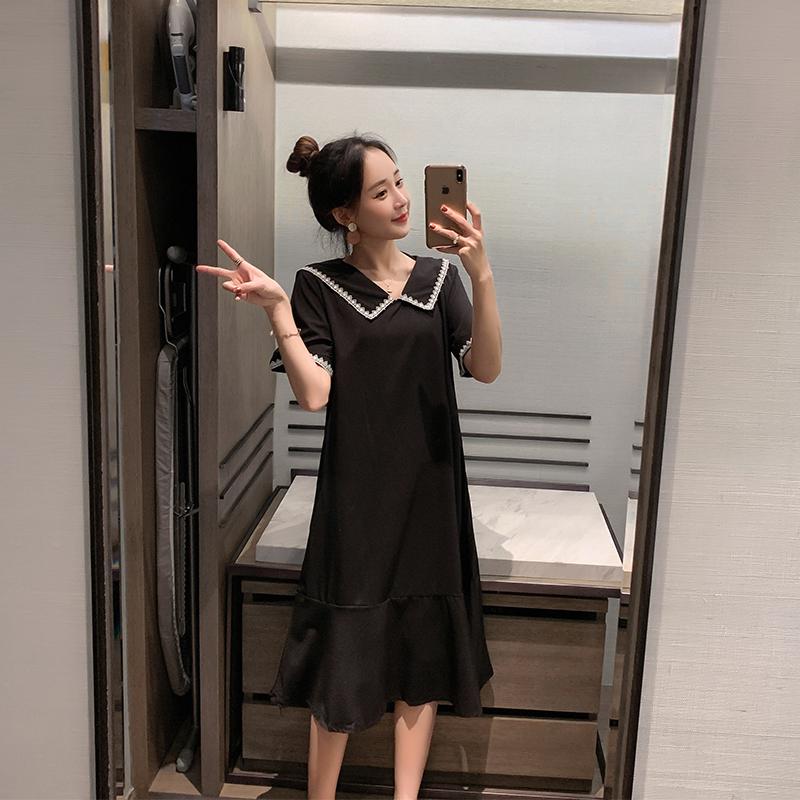 2020夏季新款宽松韩版大码短袖娃娃领复古显瘦连衣裙学生过膝长裙