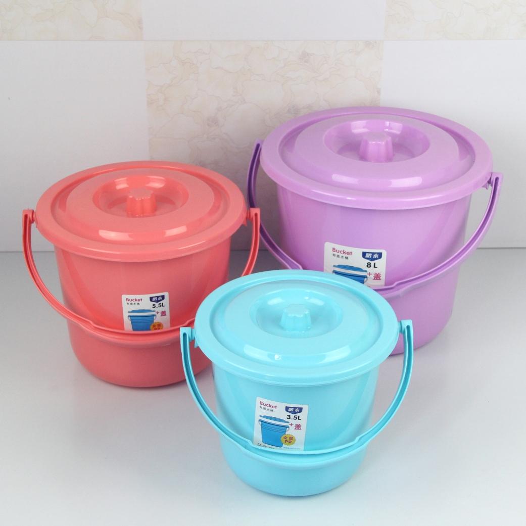 优质PP加厚塑料提水桶带盖洗车桶储水桶儿童玩具桶画画桶小号桶子