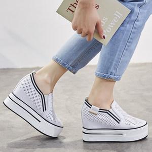 新款厚底镂空透气圆头套脚内增高10CM休闲学院风女鞋白色小码鞋