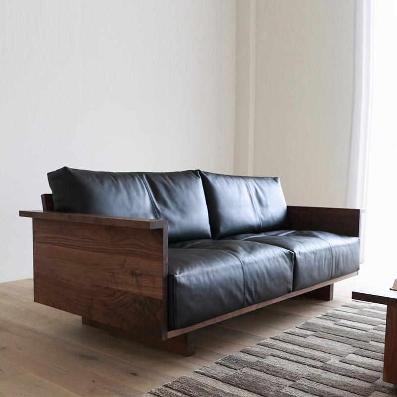 北欧全实木黑胡桃木双人实木沙发满2999元可用100元优惠券