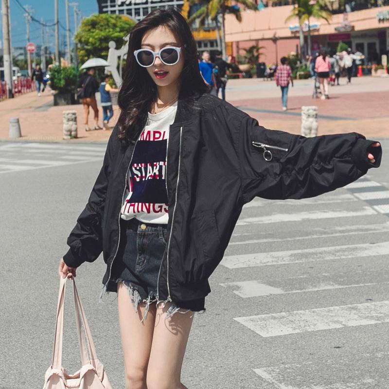 Baseball Jacket Womens spring and autumn Korean student loose new jacket Harajuku long sleeve pilot jacket