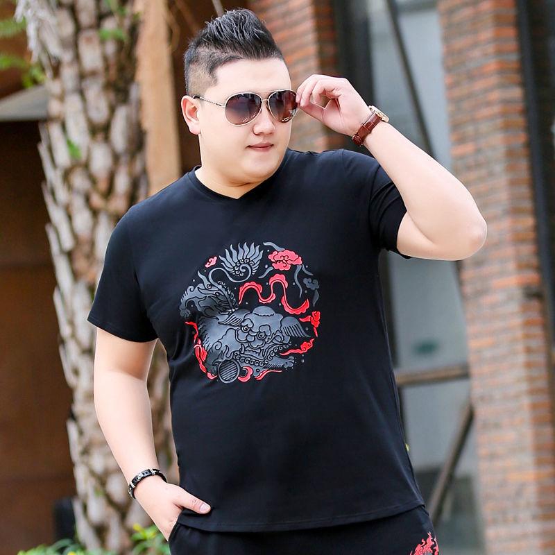 夏季大码短袖t恤男宽松特大号加肥加大男装半袖胖子肥佬休闲上衣