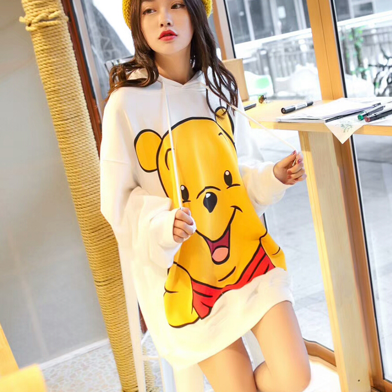 2019 autumn Hoodie womens medium and long loose big size small yellow bear Hoodie student coat tide Korean top