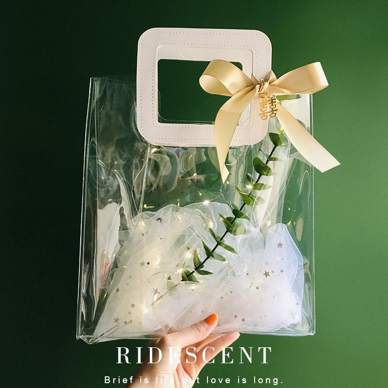 透明伴手礼袋子手提空盒婚礼喜糖盒ins风结婚伴娘女礼袋小礼品袋