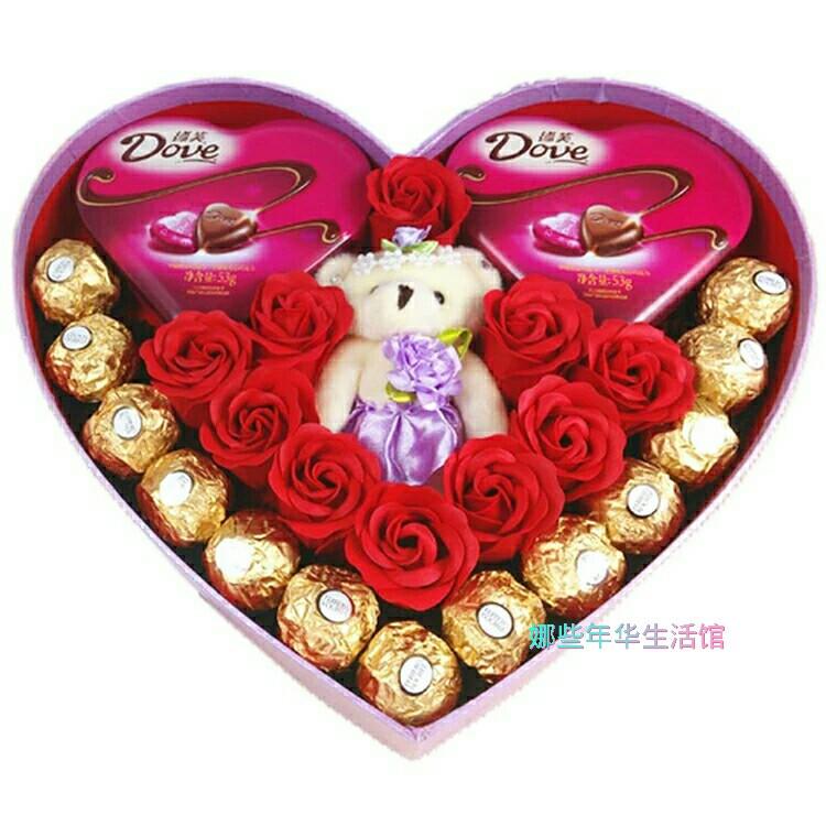 万圣节礼物 生日礼物女友 意大利费列罗巧克力小熊香皂花心形礼盒图片